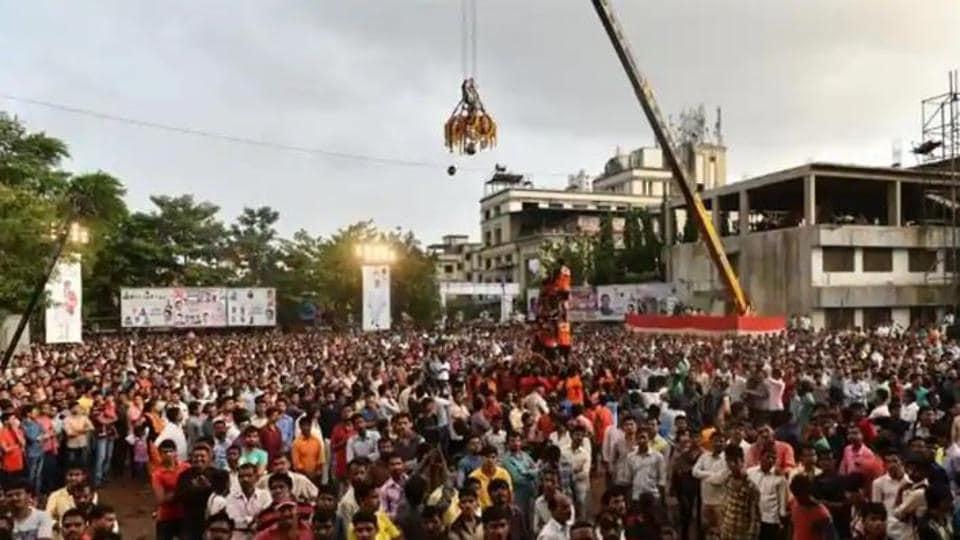 A dahi handi celebration at Navi Mumbai.