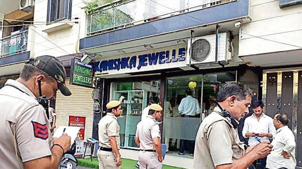 The jewellery showroom in Pandav Nagar which was robbed.