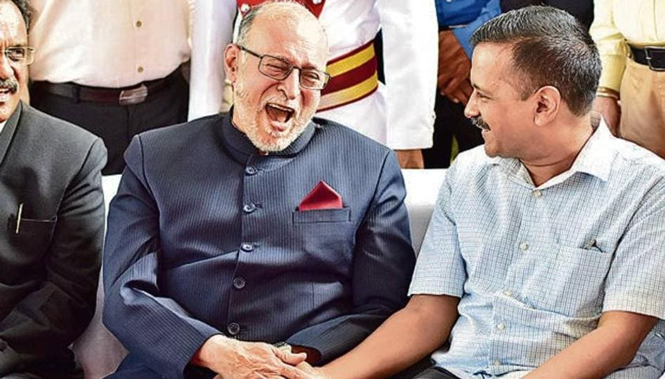 Lieutenant Governor Anil Baijal shares a light moment with Chief Minister Arvind Kejriwal in this file photo. The AAP govt and the L-G have been at loggerheads over power-sharing.