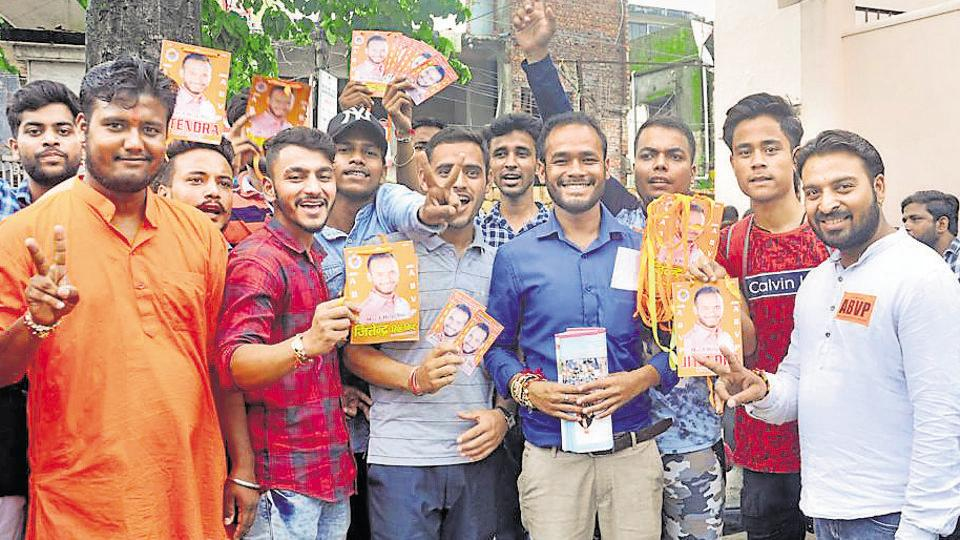 Students campaigning for the students union elections. According to DAV PG college officials, women comprise almost half the strength of the college. Despite that, the post of president and general secretary is generally bagged by male candidates.