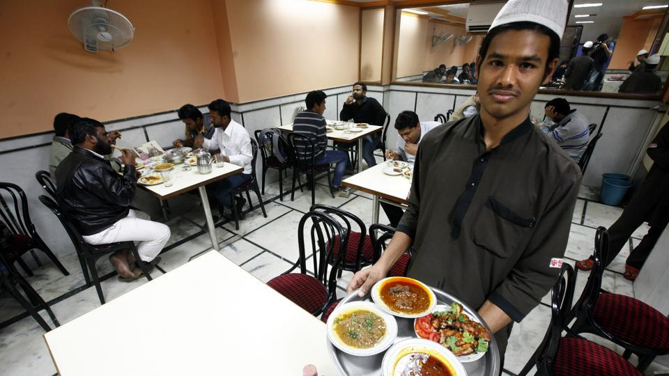 Different dishes being served in a Delhi restaurant.