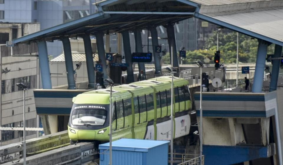 A monorail during a trial run as it restarts operation after being shut down due to a fire in November 2017, at Wadala in Mumbai, India, on Thursday, August 30, 2018.