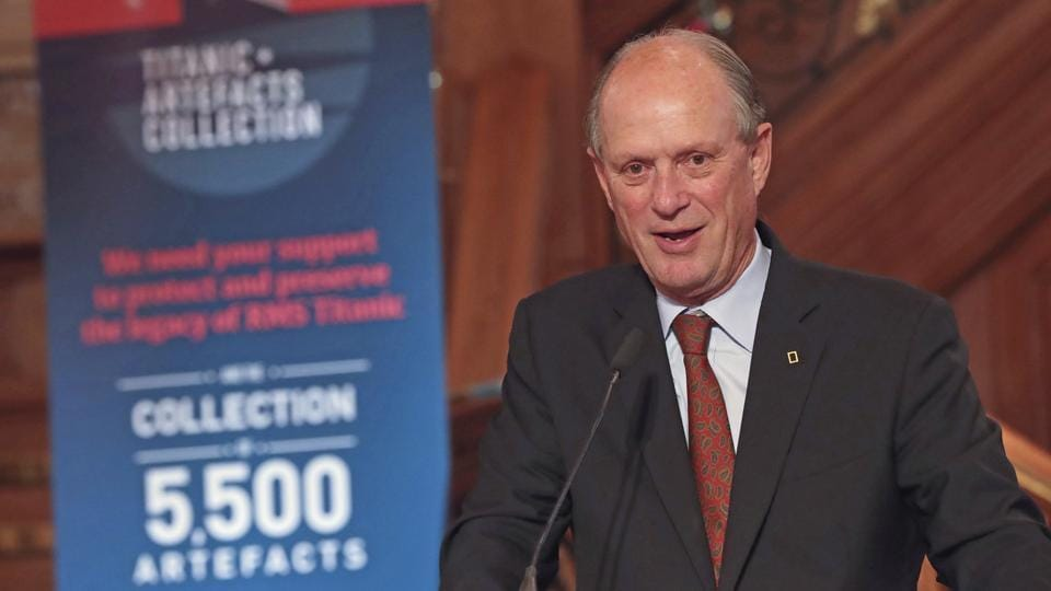 Dr Robert Ballard, who discovered the wreck of Titanic in 1985, speaks at Titanic Belfast, Northern Ireland, July 24, 2018.