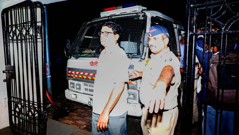 Lawyer Arun Ferreira taken to Faraskhana Police station in Pune on Wednesday. The five activists arrested from various parts of the country on Tuesday for suspected Maoist links had allegedly funded the 'Elgar Parishad' conclave in Pune, held a day before the Koregaon-Bhima violence, police said on Tuesday. (RAHUL RAUT/HT PHOTO)