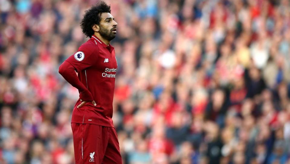 Mohamed Salah of Liverpool looks on during the Premier League match between Liverpool FC and Brighton & Hove Albion at Anfield on August 25, 2018 in Liverpool, United Kingdom.