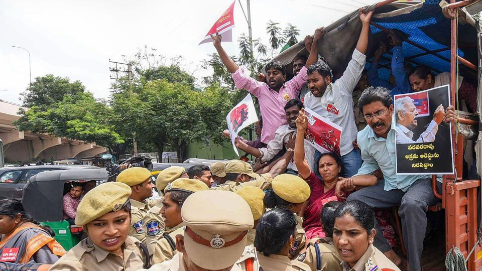 Police detain activists during a protest against the arrests, in Hyderabad on August 29, 2018. The Maharashtra government's case against the activists for their alleged Maoist links rests largely on digital data allegedly recovered by the Pune police from the seized laptops, hard discs and pen drives of five other activists arrested earlier in June. (PTI)
