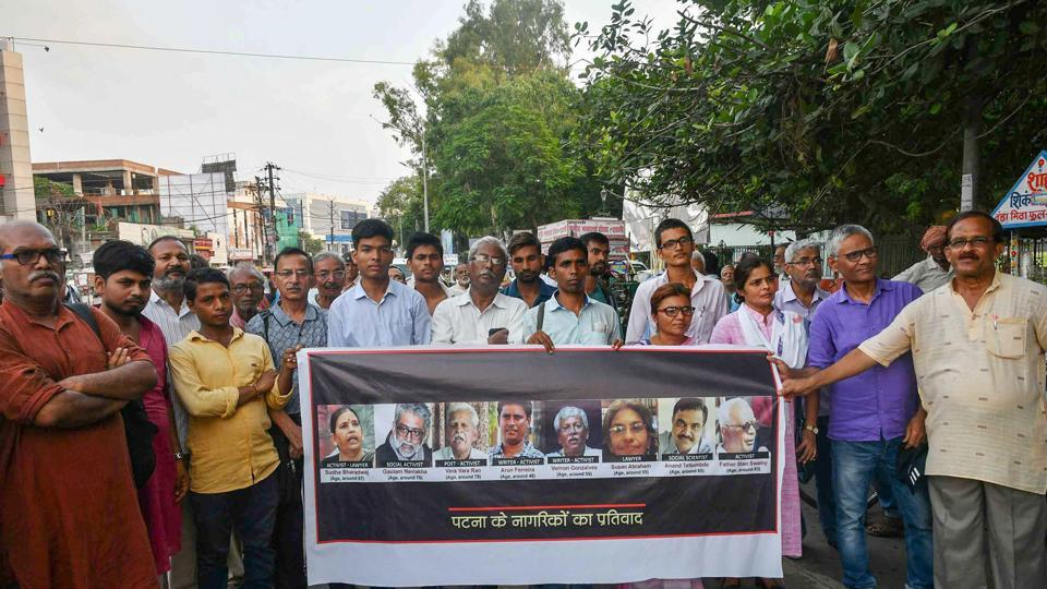 "Activists from various organisations make a human chain in protest against the arrests, in Patna on August 29, 2018. The SC bench questioned the rationale behind the arrests. ""Dissent is the safety valve of democracy, the pressure cooker will burst if you don't allow the safety valves,"" justice DY Chandrachud, a part of the bench with justice AM Khanwilkar, said. (PTI)"