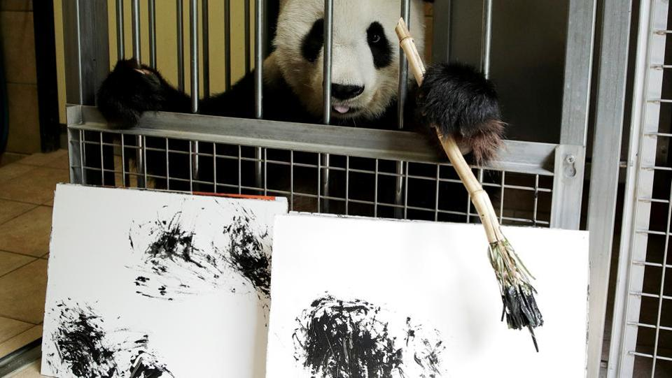 Giant Panda Yang Yang holds a brush behind pictures it painted at Schoenbrunn Zoo in Vienna, Austria. (Heinz-Peter Bader / REUTERS)