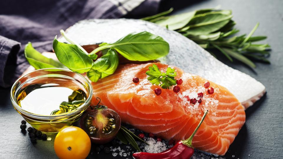 Salmon contains omega-3 fatty acids, which relaxes muscles, and relieves menstrual pain. It also contains anti-inflammatory fats.  (Shutterstock)