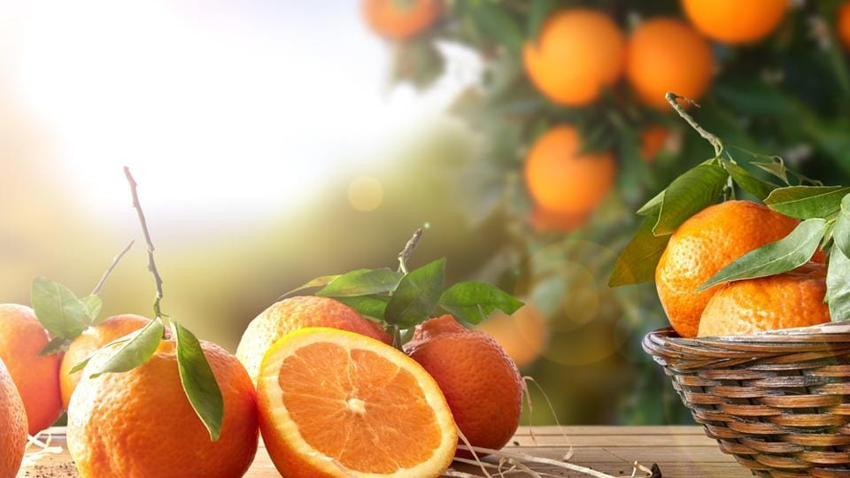 Oranges are good sources of potassium, much like bananas, and can prevent water retention and bloating. A lack of potassium causes cramping, so oranges are a good way to replenish the stock. (Shutterstock)