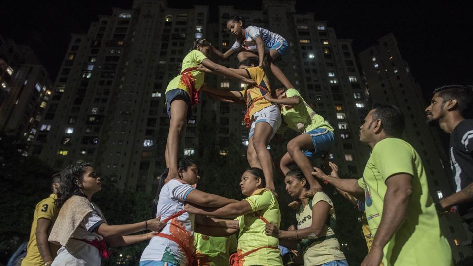 Goregaon Janmashtami,Mumbai Dahi handi,Janmashtami pyramid climb