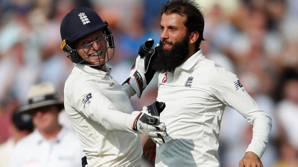 England's Moeen Ali celebrates taking the wicket of India's Mohammed Shami in Southampton.