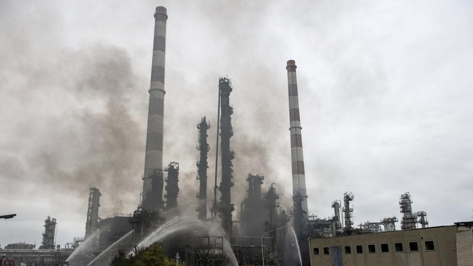Hermany,Vohburg,fire at German oil refinery