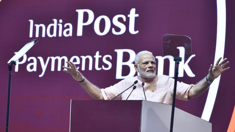 Prime Minister Narendra Modi during the launch of India Post Payments Bank at Talkatora stadium in New Delhi on September 1.