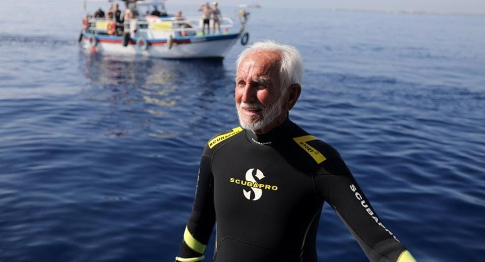 Ray Woolley, pioneer diver and World War II veteran, is seen before breaking a new diving record as he turns 95 by taking the plunge at the Zenobia, a cargo ship wreck off the Cypriot town of Larnaca, Cyprus on September 1.