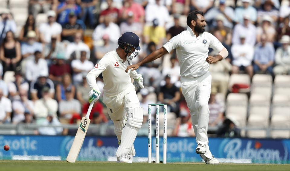 After many close shaves, Mohammed Shami finally got rid of Keaton Jennings just on the stroke of lunch (AP)