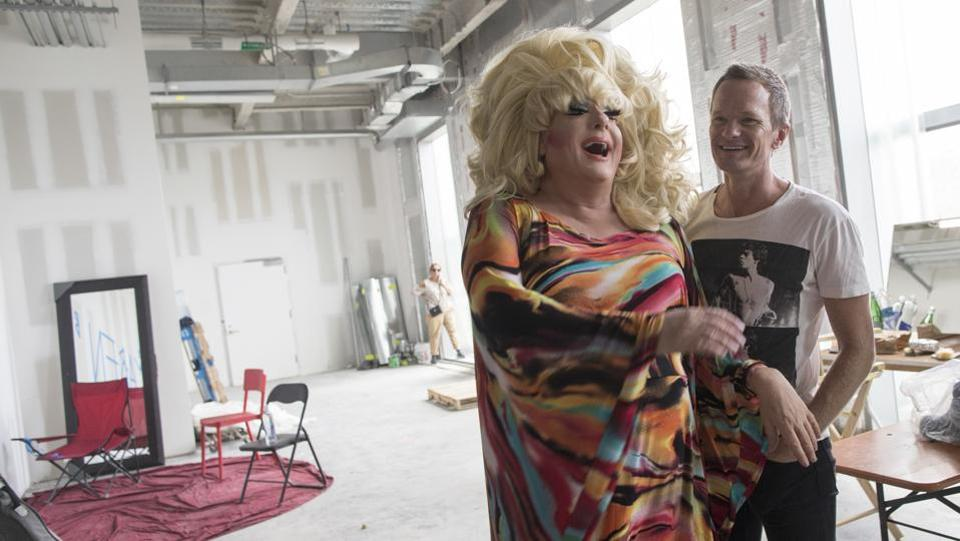 The main creative credit goes to Wigstock founder, Lady Bunny (L), whose legal name is Jon Ingle, a 56-year-old DJ and promoter. Working on the revival with her as executive producer were Harris, Burtka, Jack Turner, Jason Weinberg and Oscar award-winner Bruce Cohen, along with production company Matador Content and Pride Media. Broadway's Tony Award-winner Michael Mayer was director. (Mary Altaffer / AP)