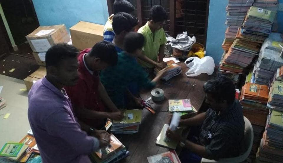 Notebooks are sorted at Bapuji Smaraka Vayanashala, Perumkulam, Kottarakkara.