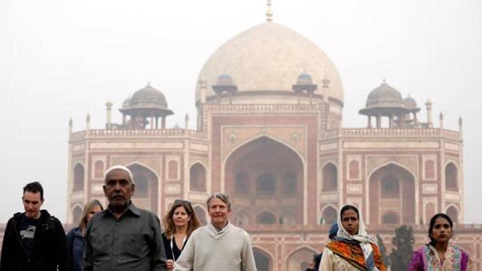 Tourists at Humayun's Tomb, New Delhi, January 1, 2018
