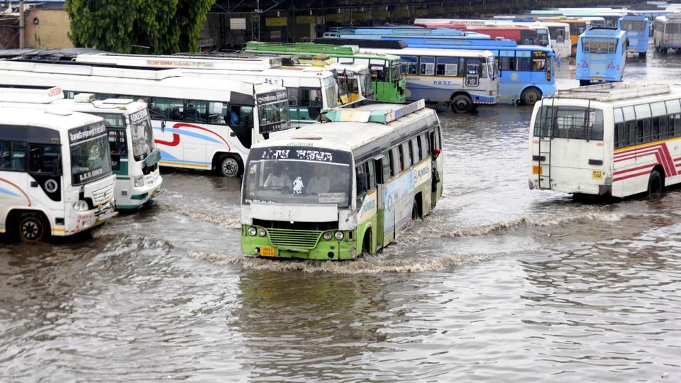 View of a waterlogged bus stand after heavy rain in Patiala on Monday.