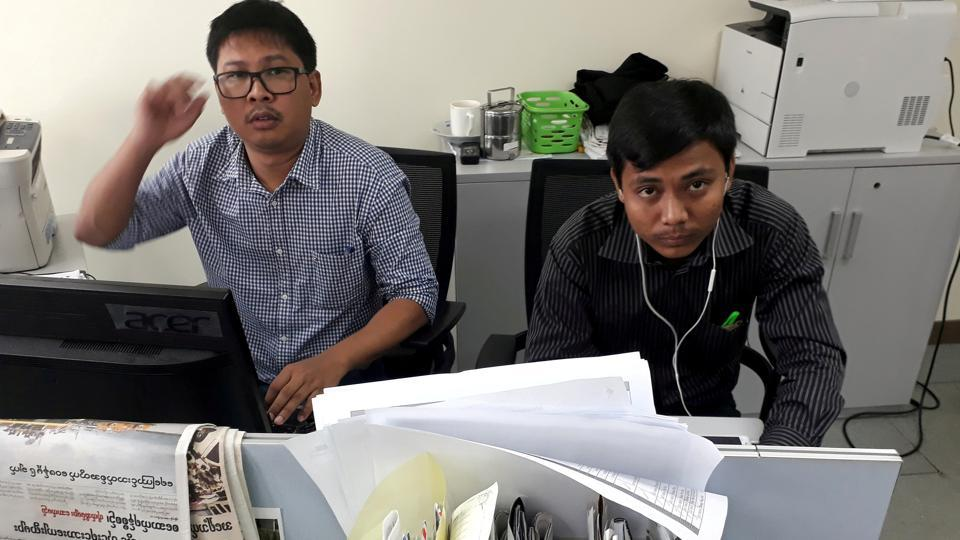 Wa Lone, 32, and Kyaw Soe Oo, 28, (pictured) insisted they were set up while exposing the extrajudicial killing of 10 Rohingya Muslims in the Rakhine village of Inn Din in September last year.