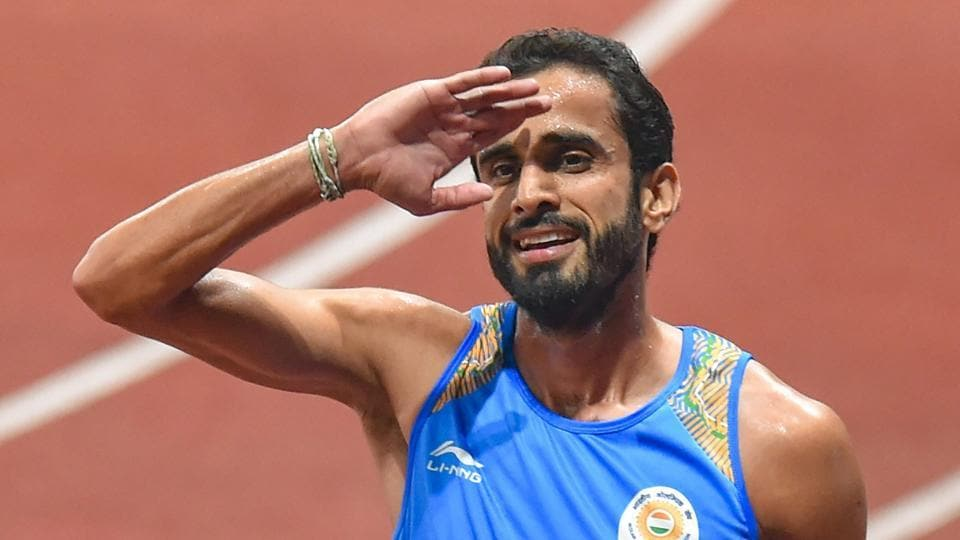 Jakarta: Indian athlete Manjit Singh after finishing first in the 1500m heat at the 18th Asian Games 2018.