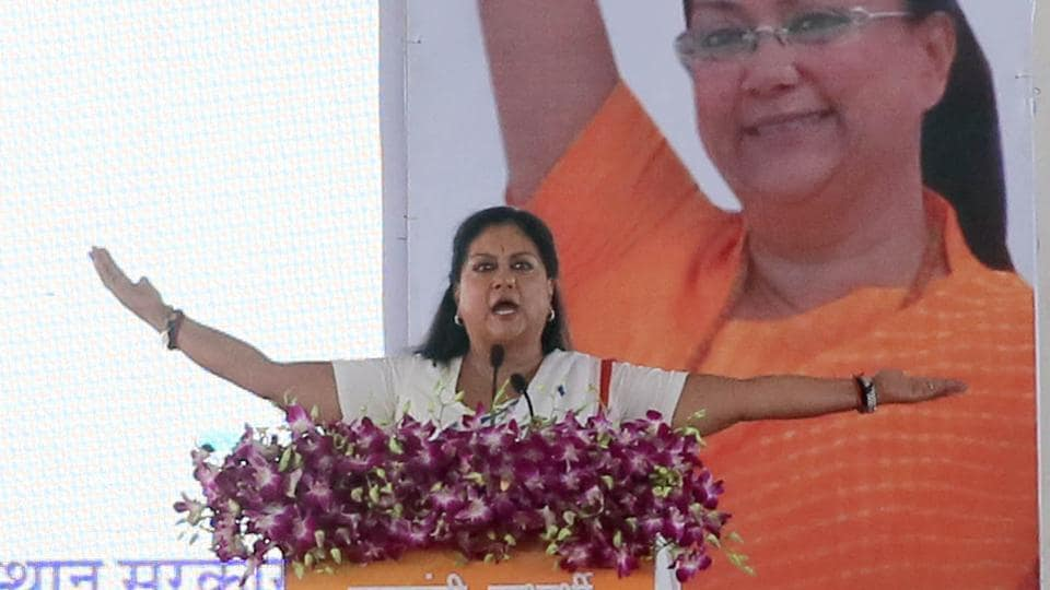Rajasthan chief minister Vasundhara Raje speaks during the 'Labharthi Samvad' programme in Jaipur.