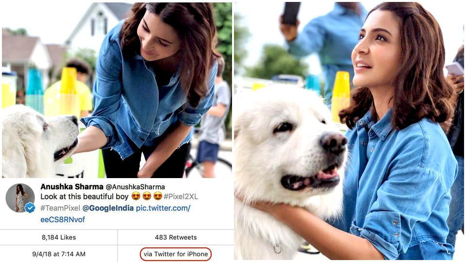 Anushka Sharma posted these images, clicked on a Pixel2XL but she posted it from an iPhone.
