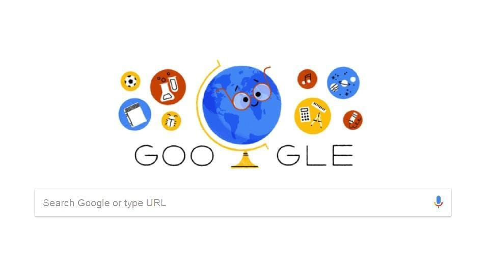 In the Google doodle celebrating Teachers' Day, a spinning globe, wearing spectacles is shown as a teacher.