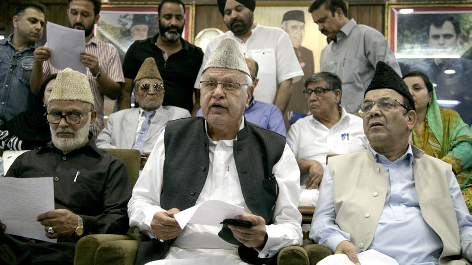 National Conference leader Farooq Abdullah said his party will not participate in local body elections unless the Centre and the state government clear their position on Article 35 A and take effective steps for its protection. The Supreme Court has been hearing petitions filed by NGOs and individuals against the article of the Constitution that restricts property ownership and government jobs to permanent residents of Jammu and Kashmir. (HT Photo)