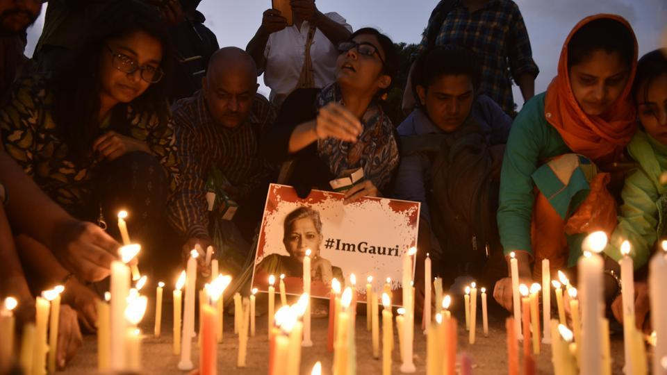 A candle light vigil was organised for the journalist Gauri Lankesh who was murdered in Bangalore on Tuesday night, in New Delhi, India, on Wednesday, September 6, 2017.