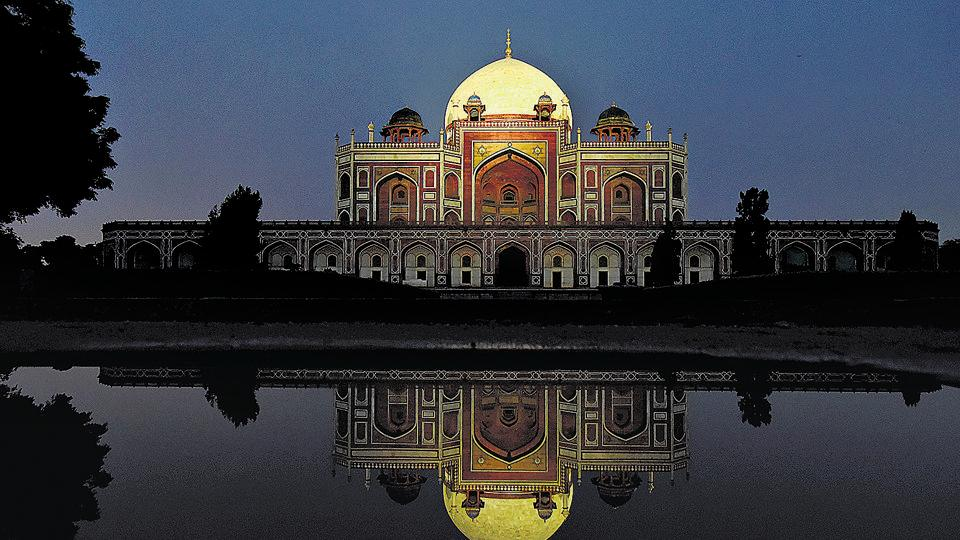 The illuminated grand white marble dome of Humayun's Tomb seen in New Delhi on Tuesday.