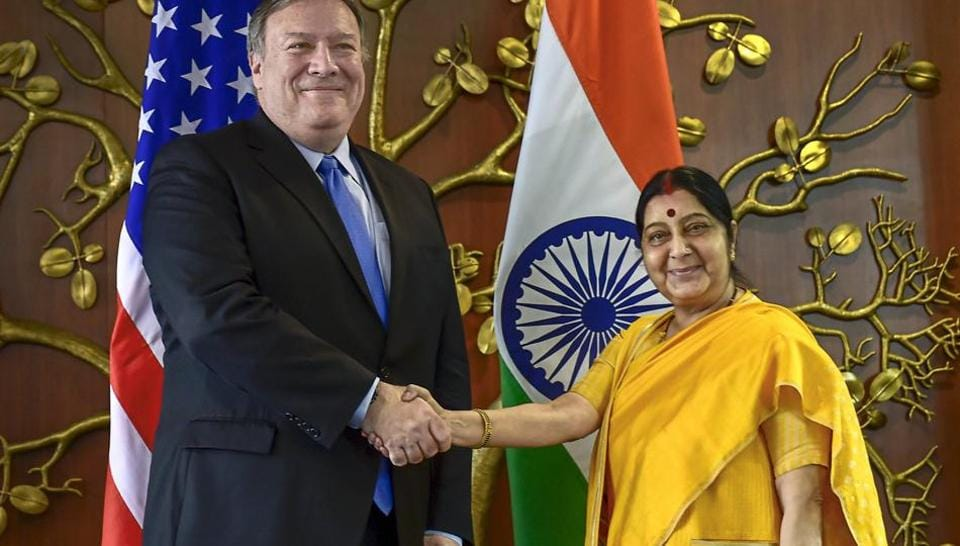 New Delhi: Foreign Minister Sushma Swaraj shakes hands with US Secretary of State Mike Pompeo before a meeting, in New Delhi, Thursday, Sept 6, 2018. (PTI Photo/Kamal Singh) (PTI9_6_2018_000011B)