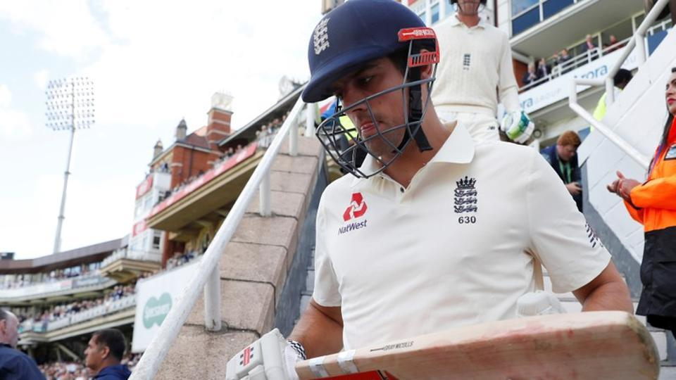 England's Alastair Cook walks out at the start of his final test match.