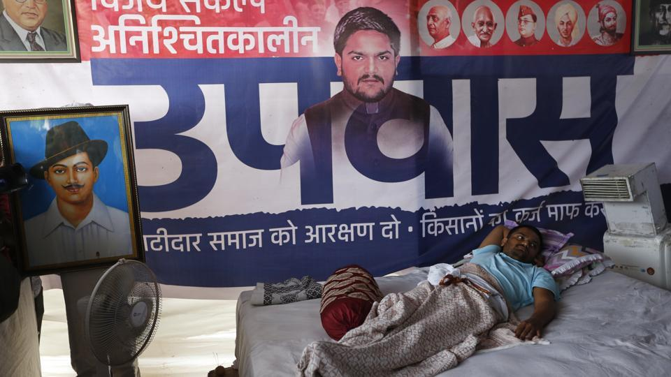 Patidar Anamat Andolan Samiti (PASS) leader Hardik Patel was taken to a hospital after his health deteriorated. He has been on an indefinite hunger strike since August 25, demanding reservations for Patidar community and loan waiver for farmers. (Ajit Solanki / AP File)