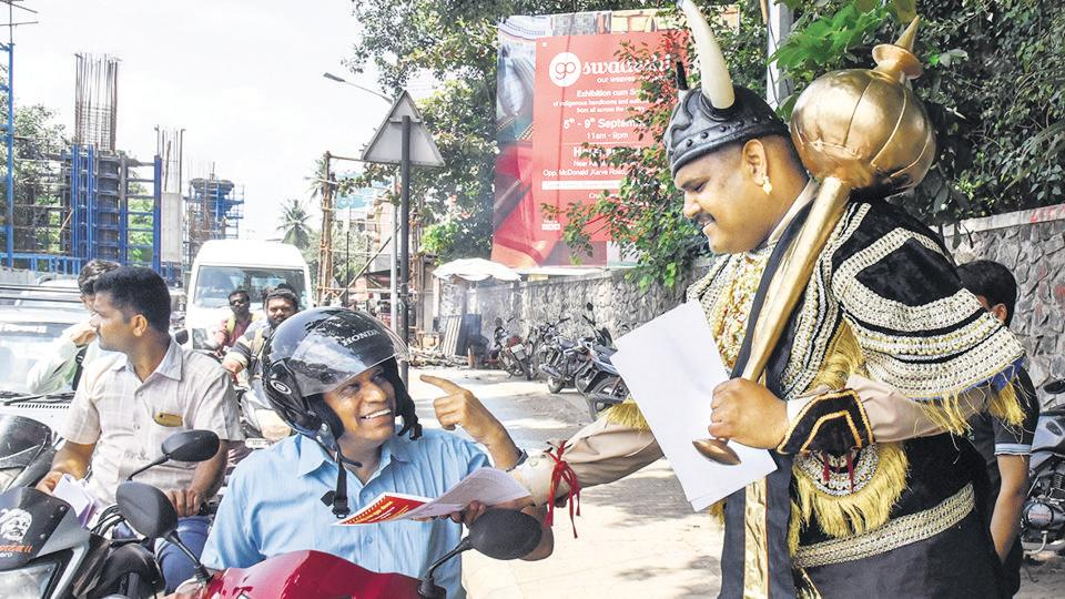 As part of road safety measures, representatives of Maharashtra metro rail corporation (Maha-Metro), dressed as Yamraj, the Hindu god of death, hit Deccan corner on Thursday, to raise awareness about the benefits of wearing helmets and safe driving.