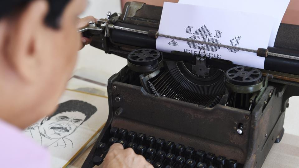 Clickety-clack, clickety-clack, ding rings out from a home in Mumbai where Chandrakant Bhide is creating his latest artwork depicting the Hindu god Ganesha --on a typewriter. The 72-year-old thumps the keys of the bulky, manual machine to draw portraits of famous people, from politicians and film stars to cricketers, animation characters and religious symbols. (Indranil Mukherjee / AFP)