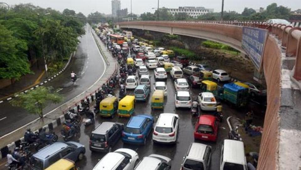 New Delhi, India - Sept. 1, 2018: Heavy traffic jam after rain due to water Logging at Ring Road ITO, Near Indira Gandhi Stadium in New Delhi, India, on Saturday, September 1, 2018. (Photo by Sonu Mehta/ Hindustan Times)