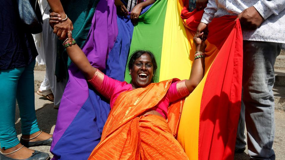 An LGBT activist celebrates after the Supreme Court's verdict of decriminalizing homosexuality and revoking the Section 377 law, in Bengaluru, Karnataka. (Abhishek N. Chinnappa / REUTERS)