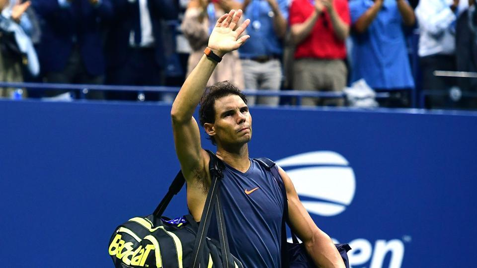 NEW YORK, NY - SEPTEMBER 07: Rafael Nadal of Spain walks off the court after he is forced to retire due to injury in his men's singles semi-final match against Juan Martin del Potro of Argentina on Day Twelve of the 2018 US Open at the USTA Billie Jean King National Tennis Center on September 7, 2018 in the Flushing neighborhood of the Queens borough of New York City.