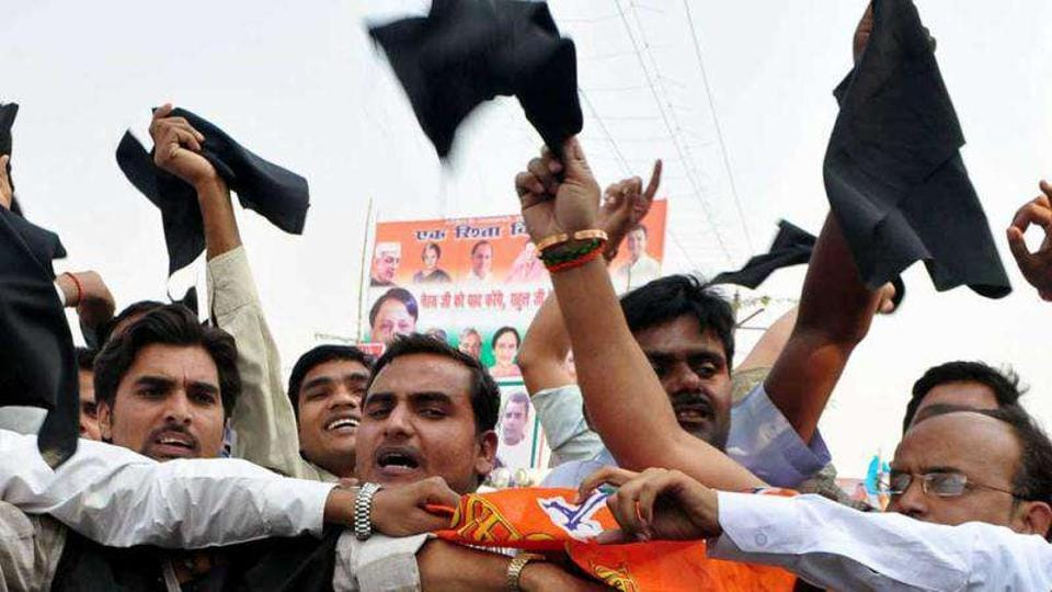 Image result for black flags to bjp