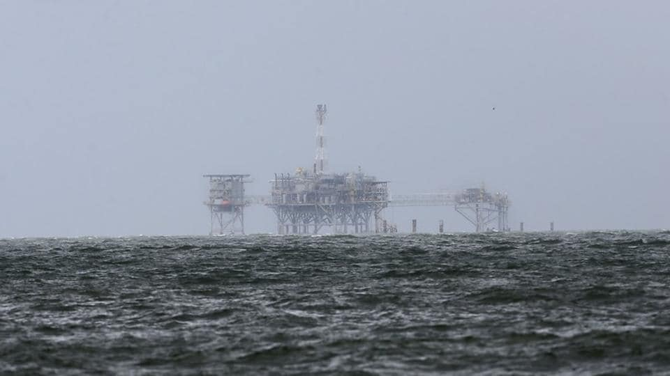 An offshore platform is pictured after Tropical Storm Gordon in Dauphin Island, Alabama, US on September 5, 2018.