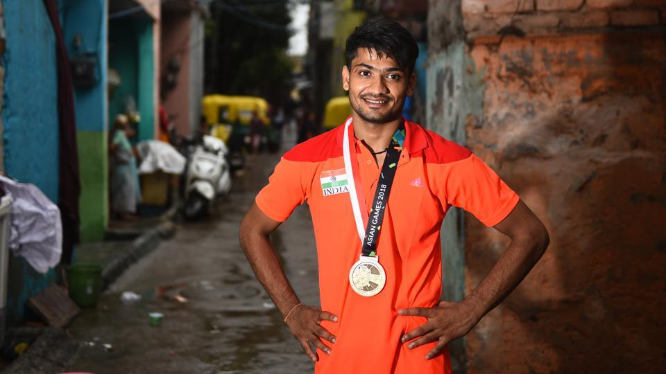 Harish said that he was introduced to Sepak takraw back in 2011 when his coach Hemraj spotted him playing with a tyre and introduced him to the Sports Authority of India. This traditional sport of Southeast Asia has teams of three use their feet, head, knees and chest to hit wicker or plastic balls across the net. Players aren't allowed to use their hands. (Vipin Kumar / HT Photo)