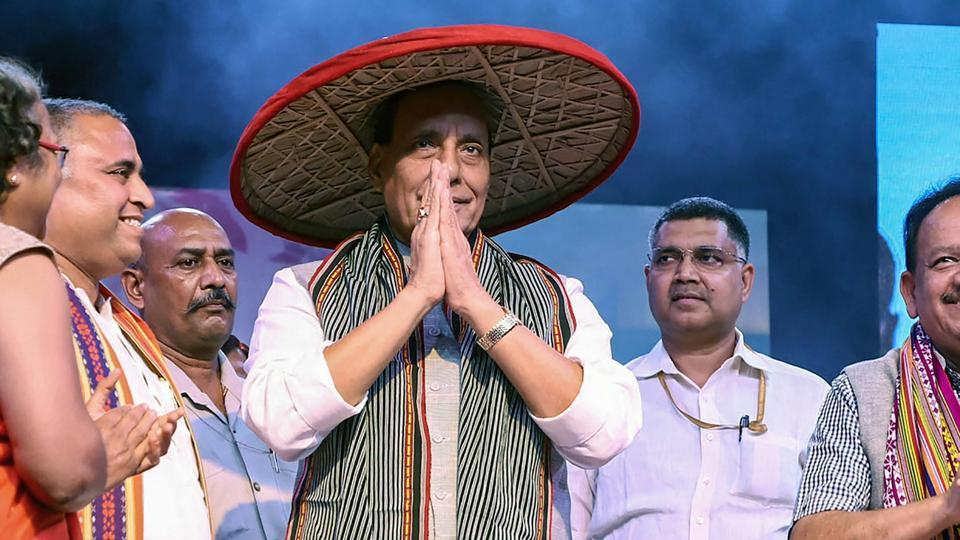 Home Minister Rajnath Singh during a gathering at North-East Students Festival, in New Delhi, Saturday, Sept 8, 2018.