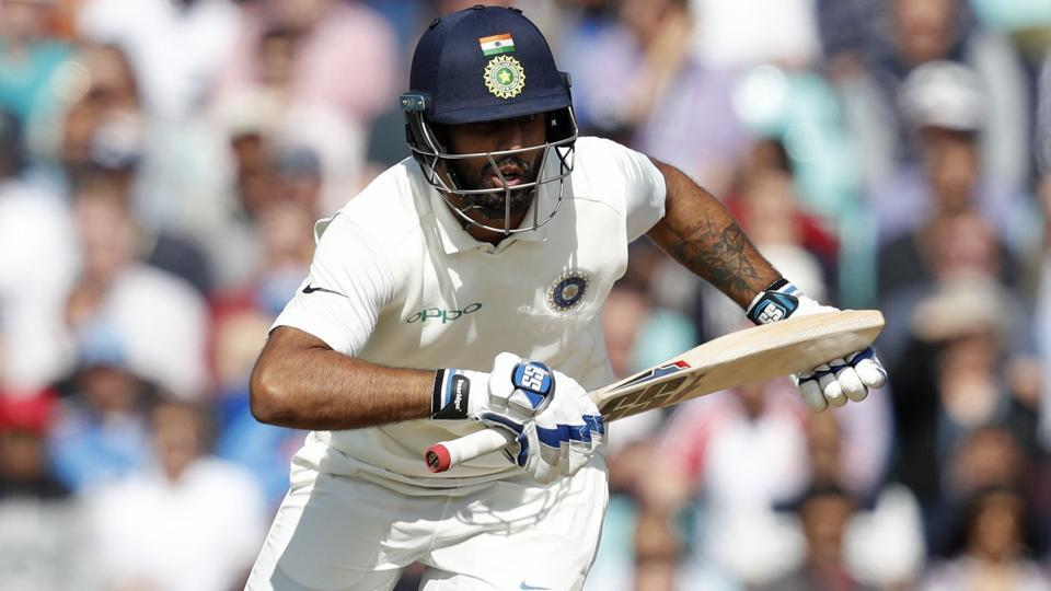 Hanuma Vihari takes a run during play on the third day of the fifth Test cricket match between England and India at The Oval.