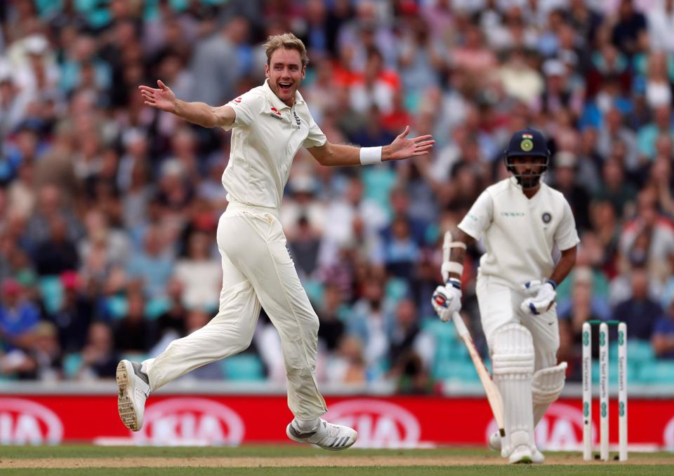 Stuart Broad celebrates the wicket of Shikhar Dhawan during the second day of the  fifth test match between England and India at the Oval cricket ground. (REUTERS)