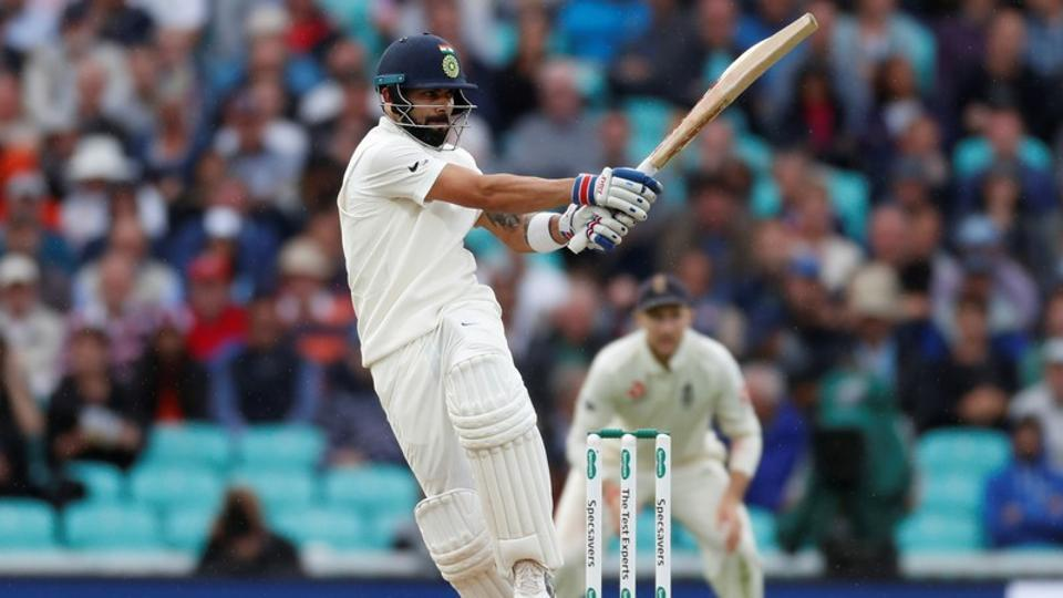 Virat Kohli plays a shot during his knock of 49 at the Oval on Saturday.