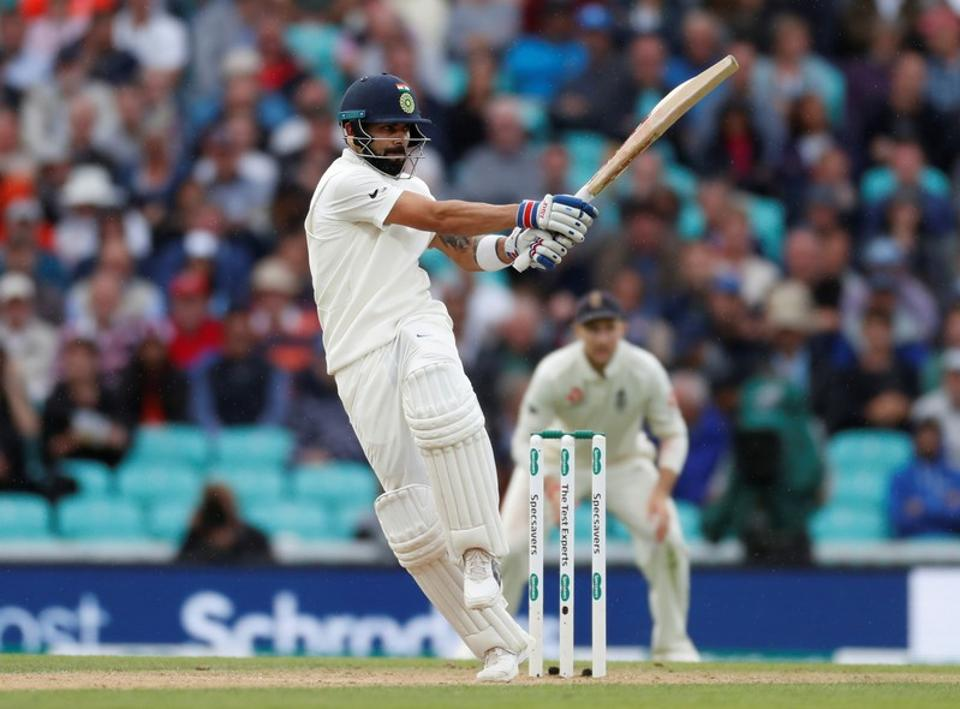 Virat Kohli in action during the second day of the  fifth test match between England and India at the Oval cricket ground. (REUTERS)
