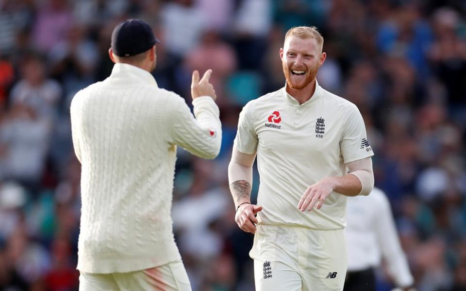 Ben Stokes celebrates taking the wicket of  Virat Kohli during the second day of the fifth test match between England and India at the Oval cricket ground. (REUTERS)