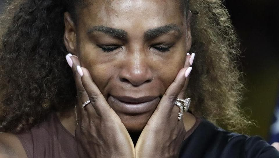 Serena Williams reacts during the trophy ceremony after losing to Naomi Osaka, of Japan, in the women's final of the US Open.
